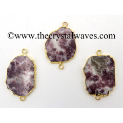 Lepidolite Flat Nugget Gold Electroplated Connector / Pendant