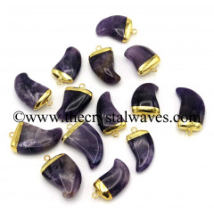 Amethyst Nail shape Gold Electroplated Pendant