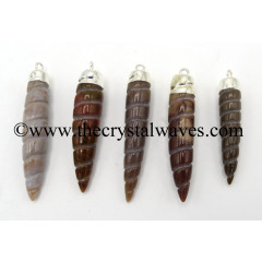 Fancy Jasper Spiral Tooth Shape Electroplated Pendant