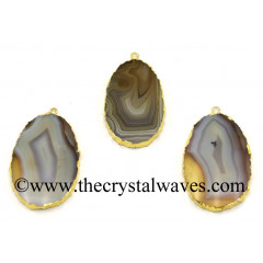 Agate Flat Egg Shaped Oval Gold Electroplated Pendants