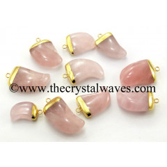Rose Quartz Nail Shape Gold Electroplated Pendant