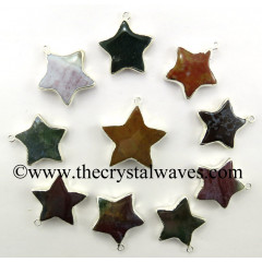 Fancy Jasper Star Silver Electroplated Pendant
