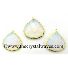 Opalite Big Heart Handknapped Gold Electroplated Pendant
