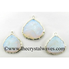 Opalite Big Heart Handknapped Silver Electroplated Pendant
