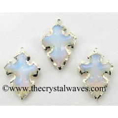 Opalite Cross Arrowhead Shape Silver Electroplated Pendant