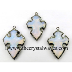 Opalite Cross Arrowhead Shape Black Rhodium Electroplated Pendant