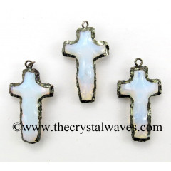 Opalite Cross Shape Black Rhodium Electroplated Pendant