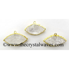 Crystal Quartz Marquise Eye Shape Gold Electroplated Pendant