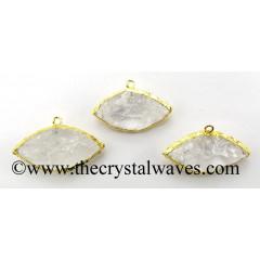 Crystal Quartz Marquise Eye Shape Gold Electroplated Pendant