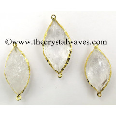 Crystal Quartz Marquise Shape Gold Electroplated Connector / Pendant
