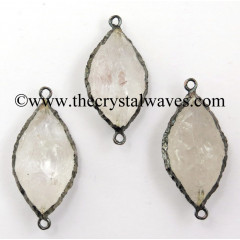Crystal Quartz Marquise Shape Black Rhodium Electroplated Connector / Pendant