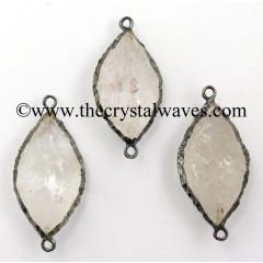 Crystal Quartz Marquise Shape Black Rhodium Electroplated Connector / Pendant