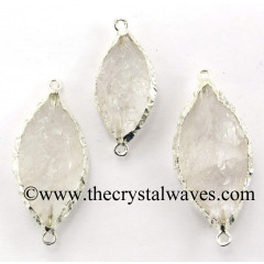 Crystal Quartz Marquise Shape Silver Electroplated Connector / Pendant
