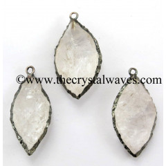 Crystal Quartz Marquise Shape Black Rhodium Electroplated Pendant