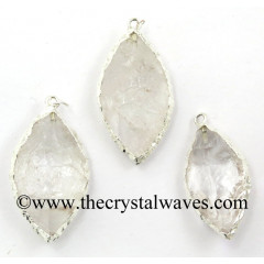 Crystal Quartz Marquise Shape Silver Electroplated  Pendant