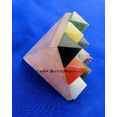 Rose Quartz Lemurian Master Pyramid With 9 Gemstone Pyramid At Bottom
