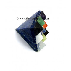 Lapis Lazuli Lemurian Master Pyramid With 9 Gemstone Pyramid At Bottom