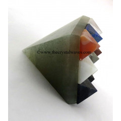Green Aventurine ( Light) Lemurian Master Pyramid With 9 Gemstone Pyramid At Bottom
