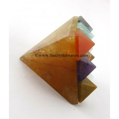 Yellow Aventurine Lemurian Master Pyramid With 9 Gemstone Pyramid At Bottom