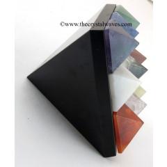 Black Agate / Jasper Lemurian Master Pyramid With 9 Gemstone Pyramid At Bottom