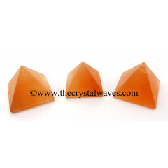 Orange Selenite less than 15mm pyramid