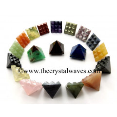 Mix Assorted Gemstones Lemurian Pyramid