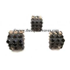 Smoky Obsidian Lemurian 54 Pyramid Power Cube