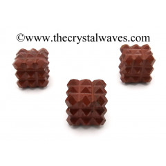 Red Jasper Lemurian 54 Pyramid Power Cube