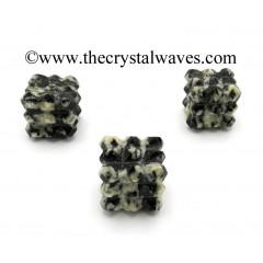 Black & White Tourmaline Lemurian 54 Pyramid Power Cube