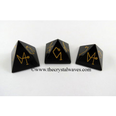 Black Agate Arch Angel Engraved Pyramid