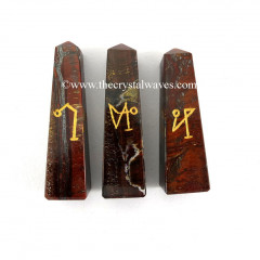 Red Tiger Eye Agate Arch Angel Engraved Tower