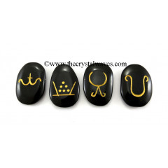 Fall, Winter, Spring, Summer, Symbols Engraved On Black Agate
