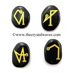 Black Agate Fine Engraved Arch Angel Set With Gold Writing