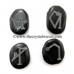 Black Agate Fine Engraved Arch Angel Set With Silver Writing