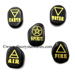 Black Agate Fine Engraved 5 Element Set With Gold Writing