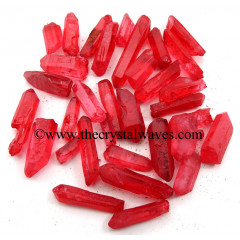 Ruby Aura Dyed Crystal Quartz A Grade Raw Pencil Points