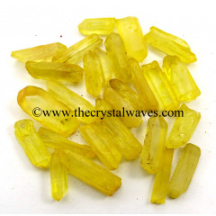 Sunshine Aura Dyed Crystal Quartz A Grade Raw Pencil Points