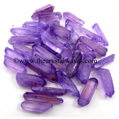 Purple Aura Dyed Crystal Quartz A Grade Raw Pencil Points