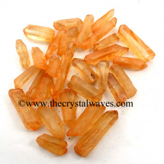 Tangerine Aura Dyed Crystal Quartz A Grade Raw Pencil Points