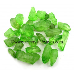 Apple Aura Dyed Crystal Quartz A Grade Raw Chunks