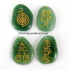 Green Aventurine  Engraved Usui Reiki Set