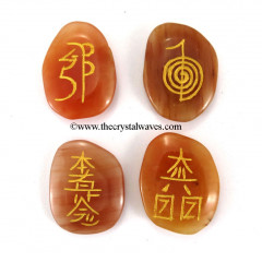 Red Aventurine  Engraved Usui Reiki Set