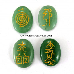 Green Aventurine Oval Engraved Usui Reiki Set