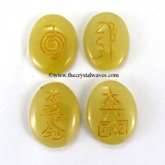 Yellow Aventurine Oval Engraved Usui Reiki Set