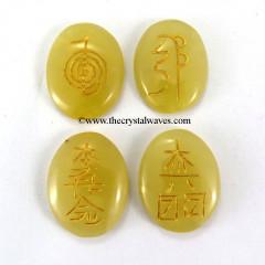 Yellow Aventurine Oval Engraved Usui Reiki Set