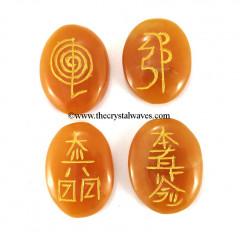 Peach Moonstone Oval Engraved Usui Reiki Set