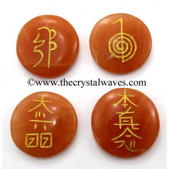 Red Aventurine Round Cab Engraved Usui Reiki Set