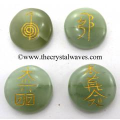 Green Aventurine Round Cab Engraved Usui Reiki Set