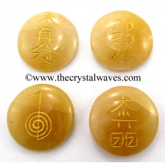 Yellow Aventurine Round Cab Engraved Usui Reiki Set