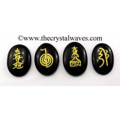 Black Agate Oval Fine Engraved Usui Reiki Set